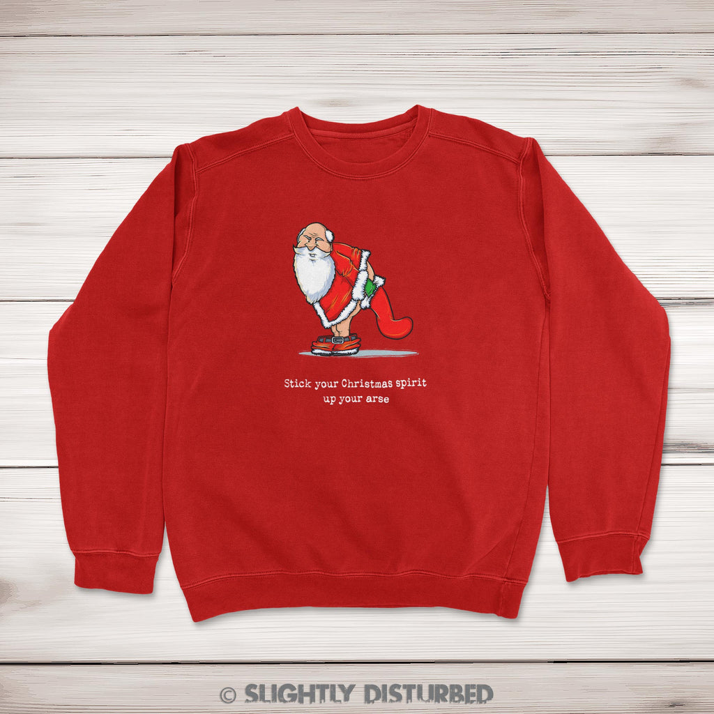 Stick Your Christmas Spirit Up Your Arse Christmas Jumper - Red - Rude Christmas Jumpers - Slightly Disturbed