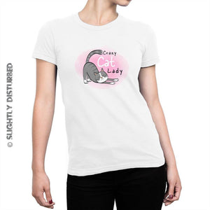 Crazy Cat Lady Ladies T-Shirt - Ladies T-Shirts - Slightly Disturbed