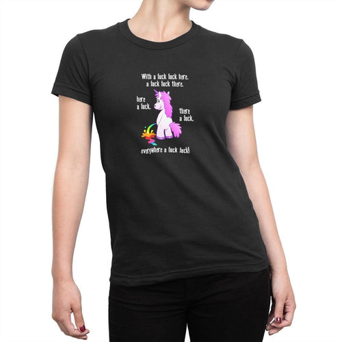 With A Fuck Fuck Here Ladies T-Shirt - Rude Tees - Slightly Disturbed