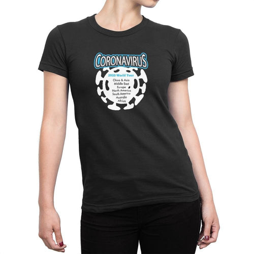 Coronavirus 2020 World Tour Ladies T-Shirt - Black - Novelty T-shirts - Slightly Disturbed