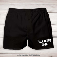 Load image into Gallery viewer, Talk Nerdy To Me Mens Boxers - Nerdy and Geeky Underwear  - Slightly Disturbed