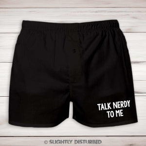Talk Nerdy To Me Mens Boxers - Nerdy and Geeky Underwear  - Slightly Disturbed