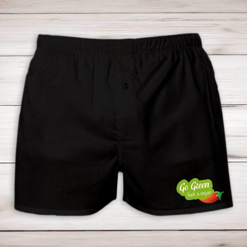 Go Green Fuck A Vegan Mens Boxers - Rude Underwear - Slightly Disturbed