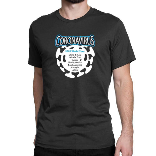 Coronavirus 2020 World Tour Men's T-Shirt - Black - Novelty T-shirts - Slightly Disturbed
