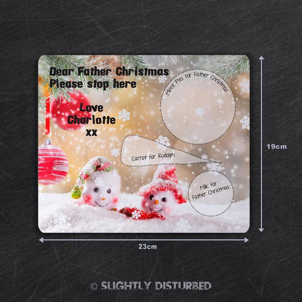 Customised Christmas Eve Placemat - Snow Couple