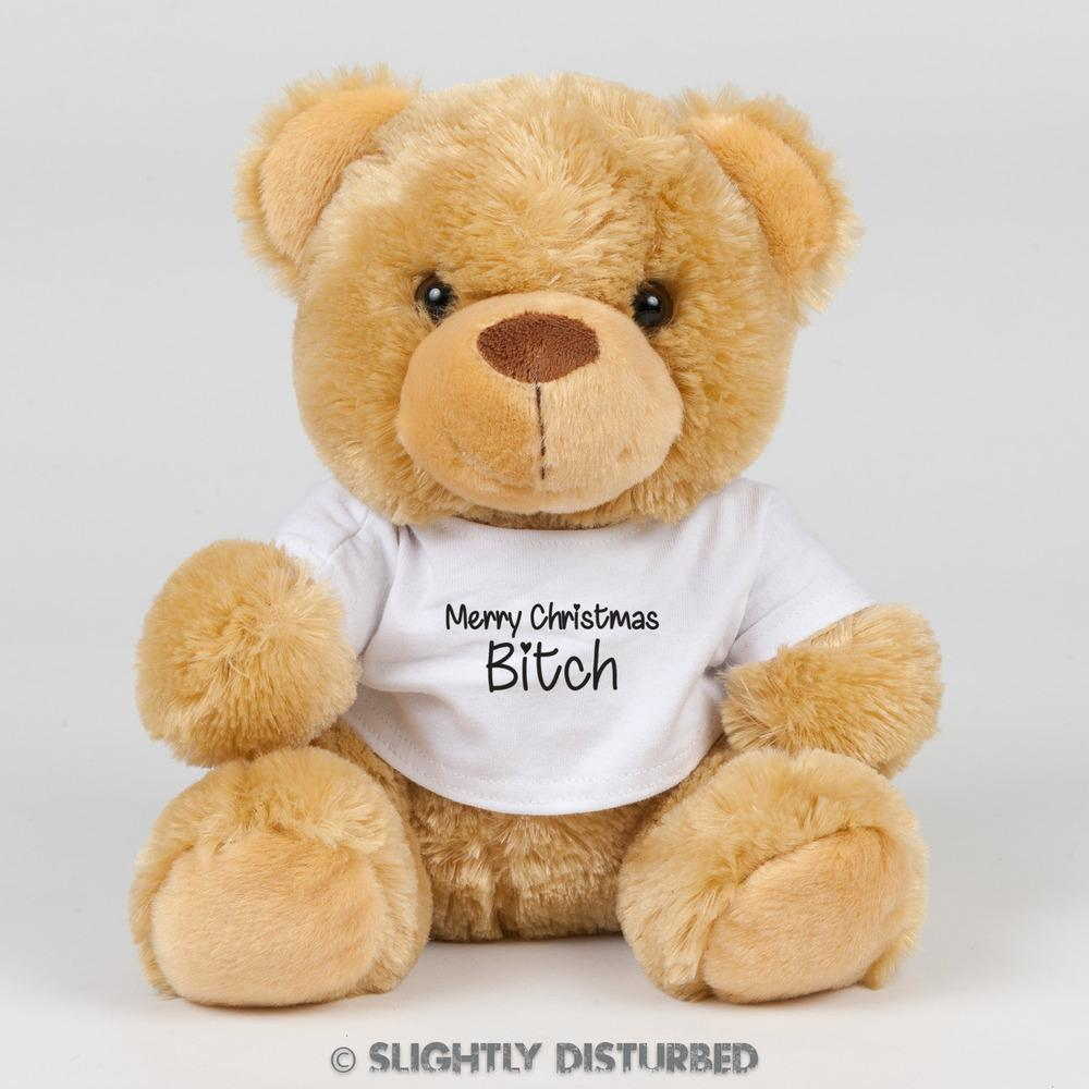 Merry Christmas Bitch Swear Bear - Rude Bears - Slightly Disturbed