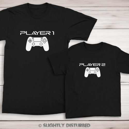 PS4 Player 1 and 2 T-Shirt Set - Gamer T-Shirt - Slightly Disturbed