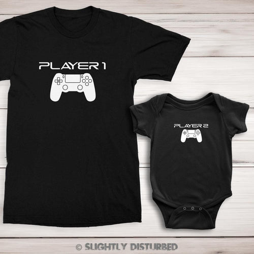 PS4 Player 1 and 2 Men's T-Shirt and Babygrow Set - Slightly Disturbed