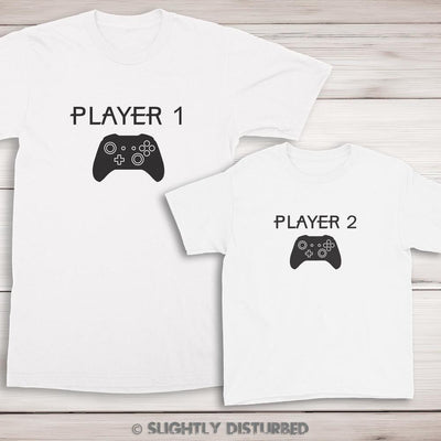 Xbox Player 1 and 2 T-Shirt Set - Gamer T-Shirt - Slightly Disturbed