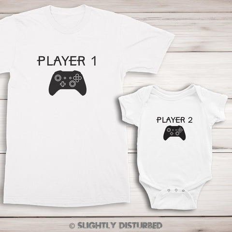 Xbox Player 1 and 2 T-Shirt and Babygrow Set - Slightly Disturbed