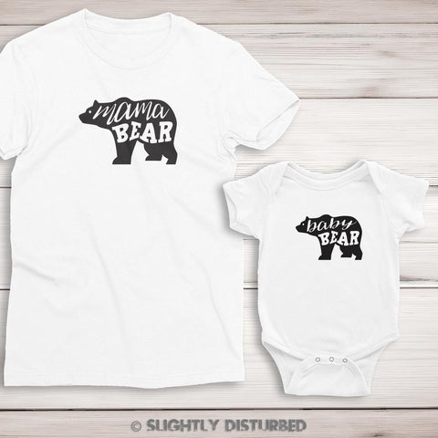 Mama Bear and Baby Bear T-Shirt and Babygrow Set - Slightly Disturbed