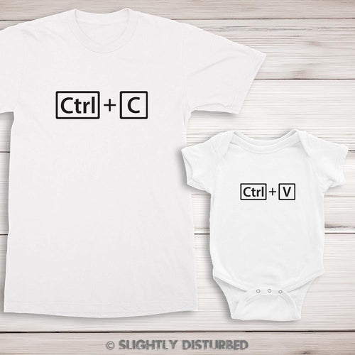 Ctrl+C and Ctrl+V T-Shirt and Babygrow Set - T-Shirt Sets - Slightly Disturbed