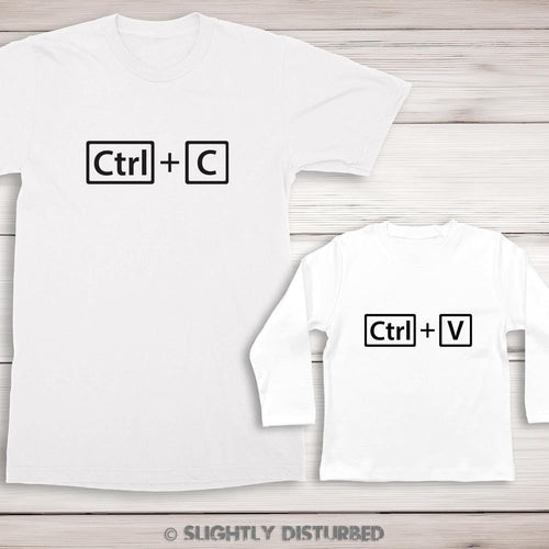Ctrl+C and Ctrl+V T-Shirt and Baby T-shirt Set - T-Shirt Sets - Slightly Disturbed