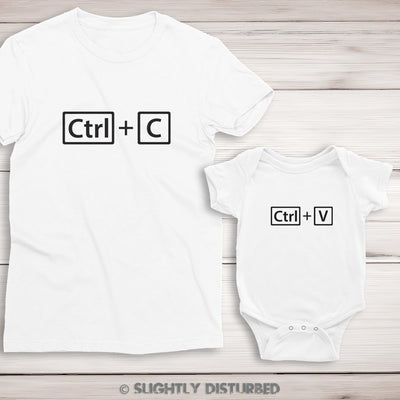 Ctrl+C and Ctrl+V Ladies T-Shirt and Babygrow Set - Slightly Disturbed