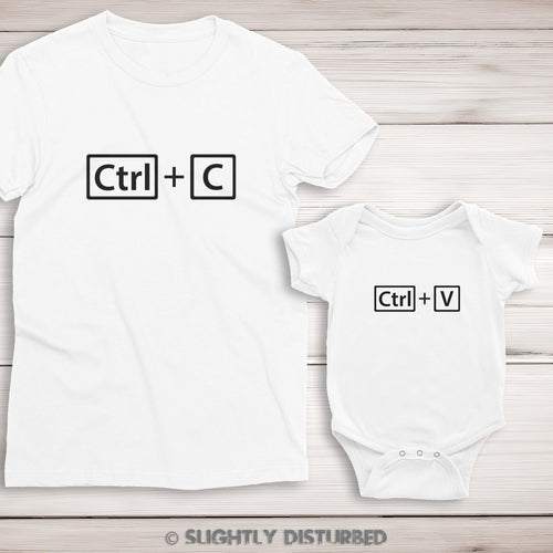 Ctrl+C and Ctrl+V Ladies T-Shirt and Babygrow Set - T-Shirt Sets - Slightly Disturbed