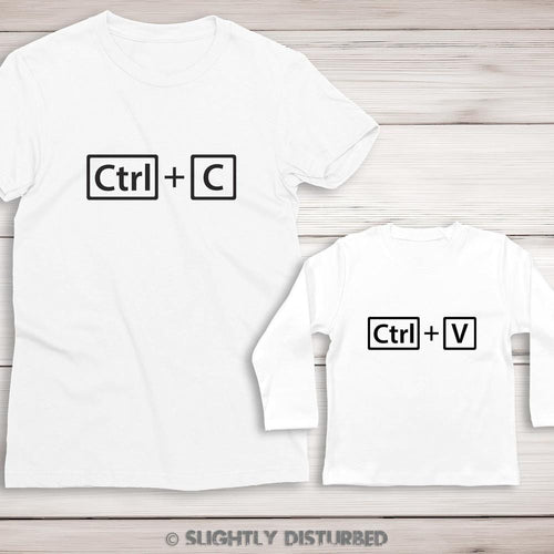 Ctrl+C and Ctrl+V Ladies T-Shirt and Baby T-shirt Set - T-Shirt Sets - Slightly Disturbed