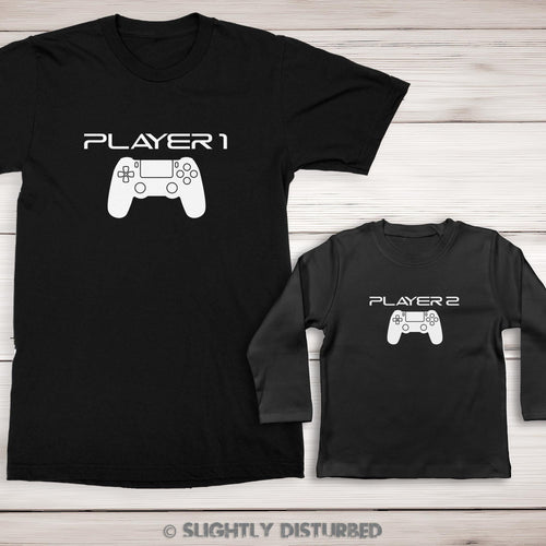 Edit website SEO PS4 Player 1 and 2 Men's and Baby T-Shirt Set - Slightly Disturbed