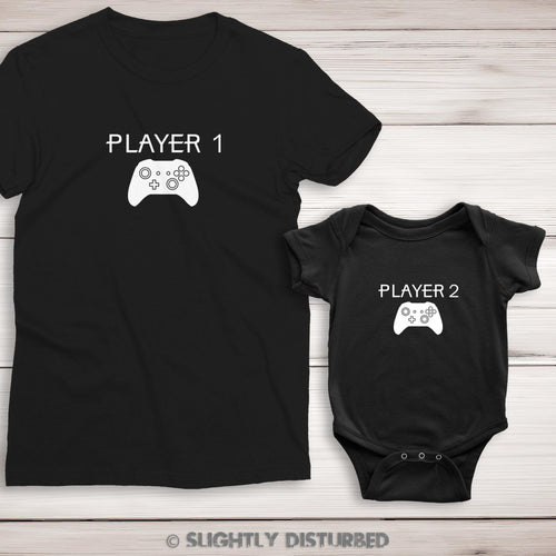 Xbox Player 1 and 2 Ladies' T-Shirt and Babygrow - Slightly Disturbed
