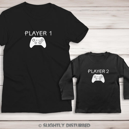 Xbox Player 1 and 2 Ladies' and Baby T-Shirt Set - Slightly Disturbed