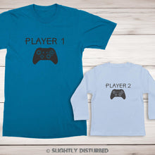 Load image into Gallery viewer, Xbox Player 1 and 2 Men's and Baby T-Shirt Set - Slightly Disturbed