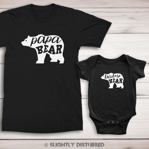 Papa Bear and Baby Bear T-Shirt and Babygrow Set - Slightly Disturbed