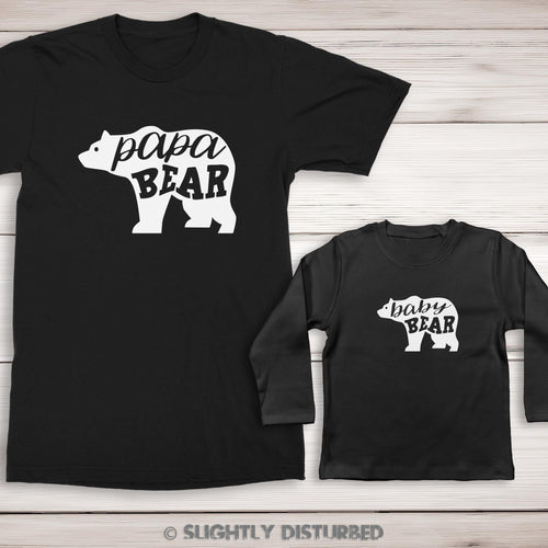 Papa Bear and Baby Bear Men's and Baby T-Shirt Set - Slightly Disturbed