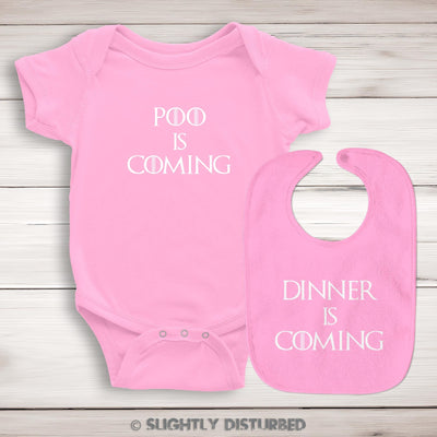 Dinner Is Coming Bib and Poo Is Coming Babygrow Set - Slightly Disturbed