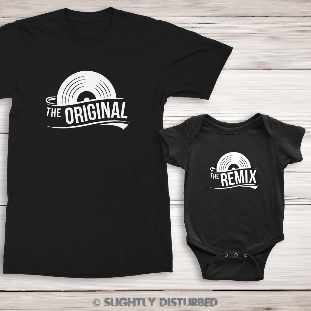 The Original and The Remix Men's T-Shirt and Babygrow Set - Black - Slightly Disturbed