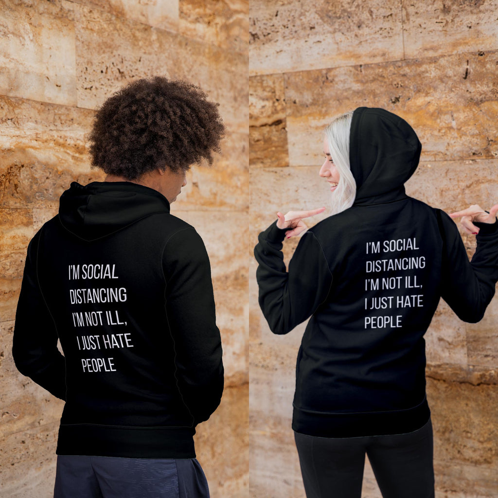 Social Distancing Hoodie - Novelty Hoodies - Slightly Disturbed - Black