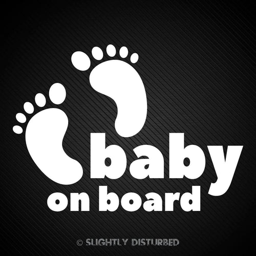 Baby On Board Toes White Vinyl Sticker - Slightly Disturbed