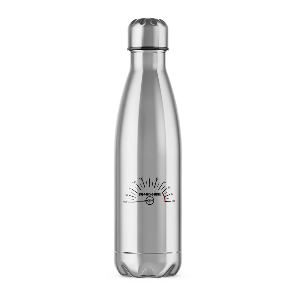 Give-A-Fuck-O-Meter Water Bottle - Rude Bottles - Slightly Disturbed - Silver