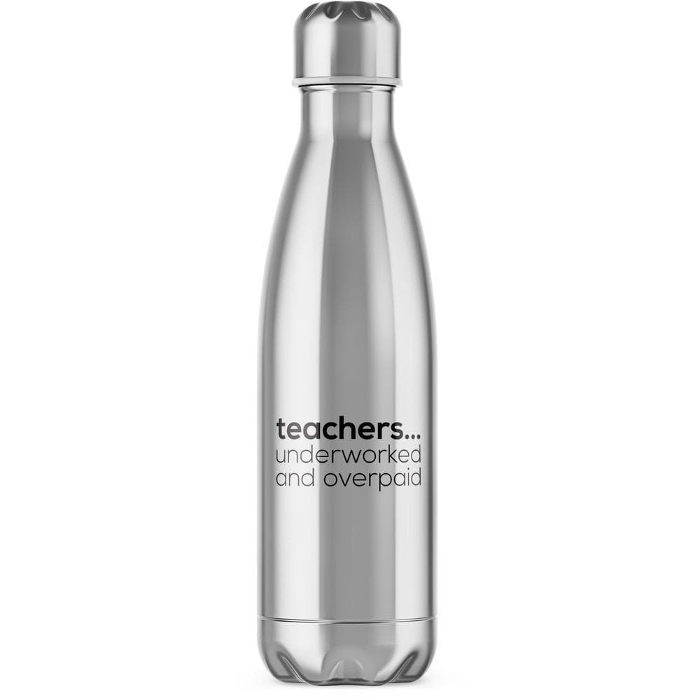 Teachers...Underworked and Overpaid Water Bottle - Novelty Gifts - Slightly Disturbed