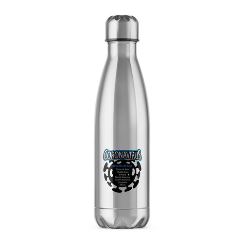 Coronavirus 2020 World Tour Water Bottle - Silver - Novelty Water Bottles - Slightly Disturbed