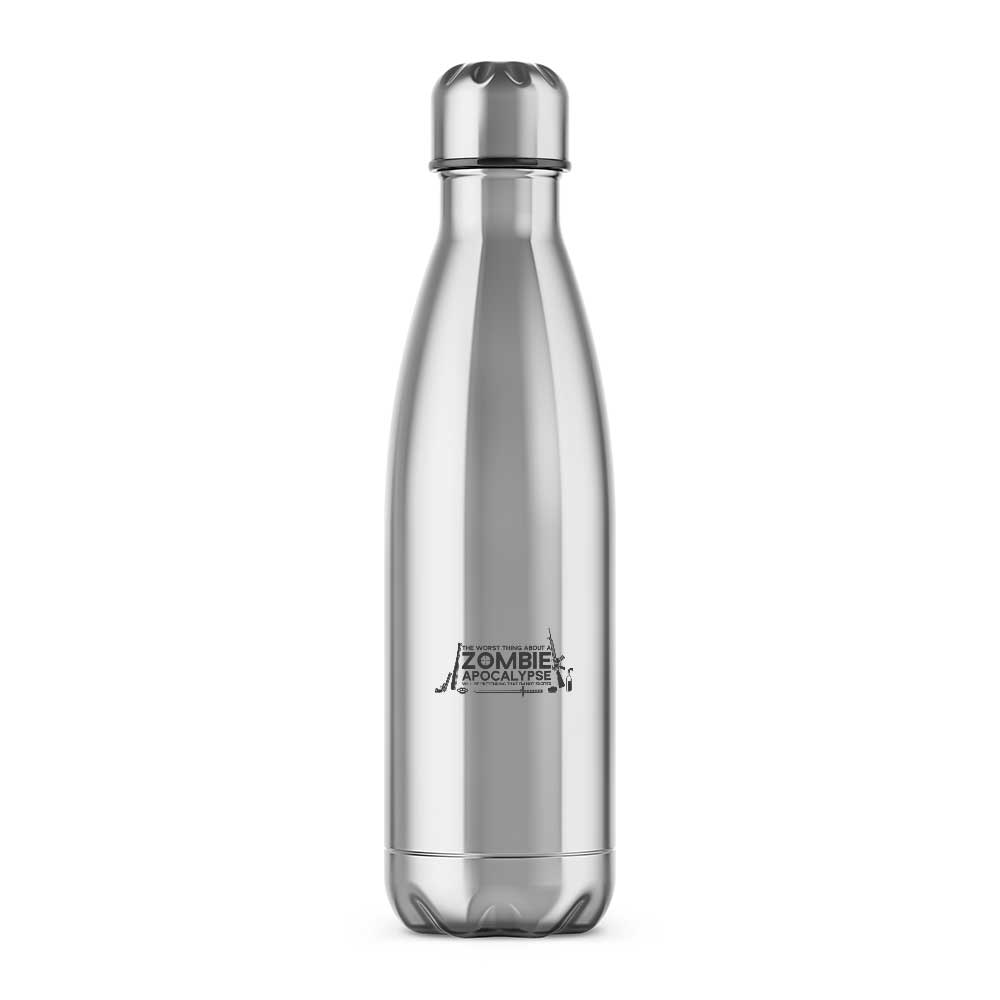 The Worst Thing About A Zombie Apocalypse Water Bottle. Novelty water bottle at Slightly Disturbed - Silver