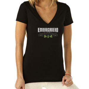 Women's Short Sleeve V Black And White Logo