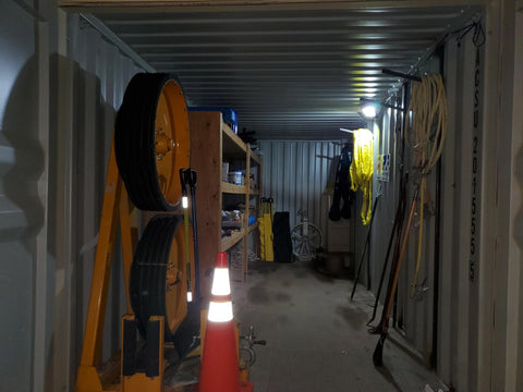 conex container with flood light