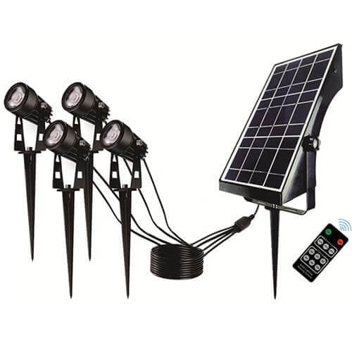 Quadruple Warm White Solar Spot Light