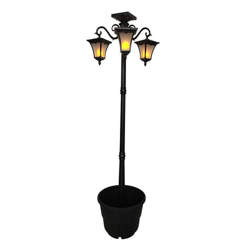 Flame Effect Solar Lamp Post Planter