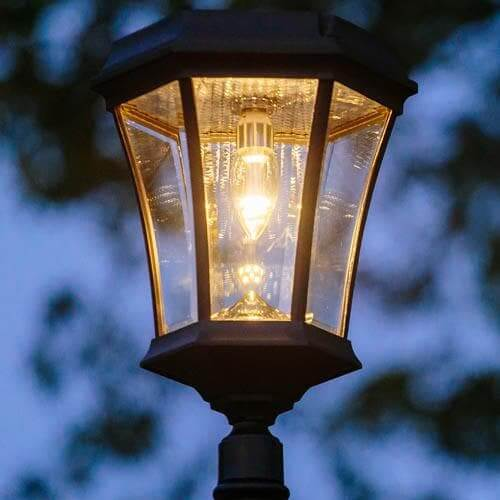 Victorian Bulb Solar Lamp Post Triple Outdoor Solar Store