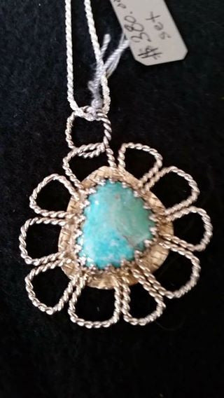 Natural Burtis Blue Turquoise and Sterling Silver Pendant and Ring Set