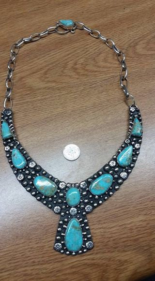#171 Sterling silver and natural untreated Burtis Blue Turquoise necklace