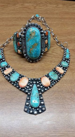 #167 Natural untreated Burtis Blue Turquoise, Spiny Oyster and sterling silver bracelet and necklace
