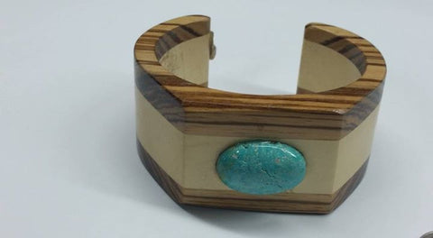 #112 Natural untreated Burtis Blue Turquoise and wood bracelet
