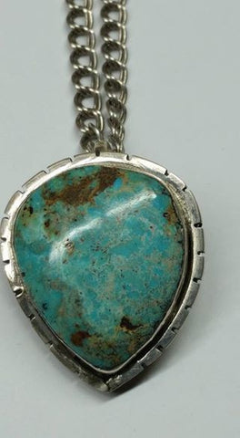 #129 Natural untreated Burtis Blue turquoise pendant
