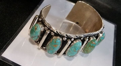 #148 Natural untreated Burtis Blue Turquoise and sterling silver bracelet