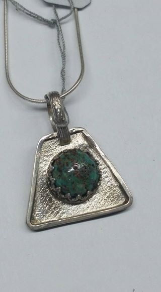 #117 Natural untreated Burtis Blue Turquoise and sterling silver pendant