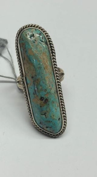 #103 Natural untreated Burtis Blue Turquoise and sterling silver Navajo ring