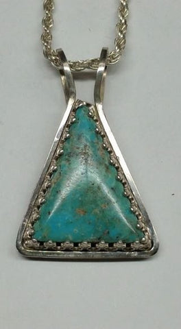 #28 Natural untreated Burtis Blue Turquoise and sterling silver pendant