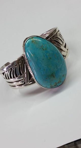 #77 Natural untreated Burtis Blue Turquoise and sterling silver bracelet