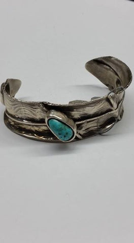 #29 Natural untreated Burtis Blue Turquoise and sterling silver bracelet